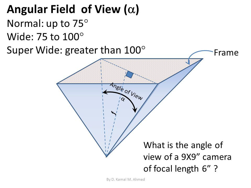Angular Field of View ( ) Normal: up to 75 Wide: 75 to 100 Super Wide: greater than 100 Frame Angle of View What is the angle of view of a 9X9 camera