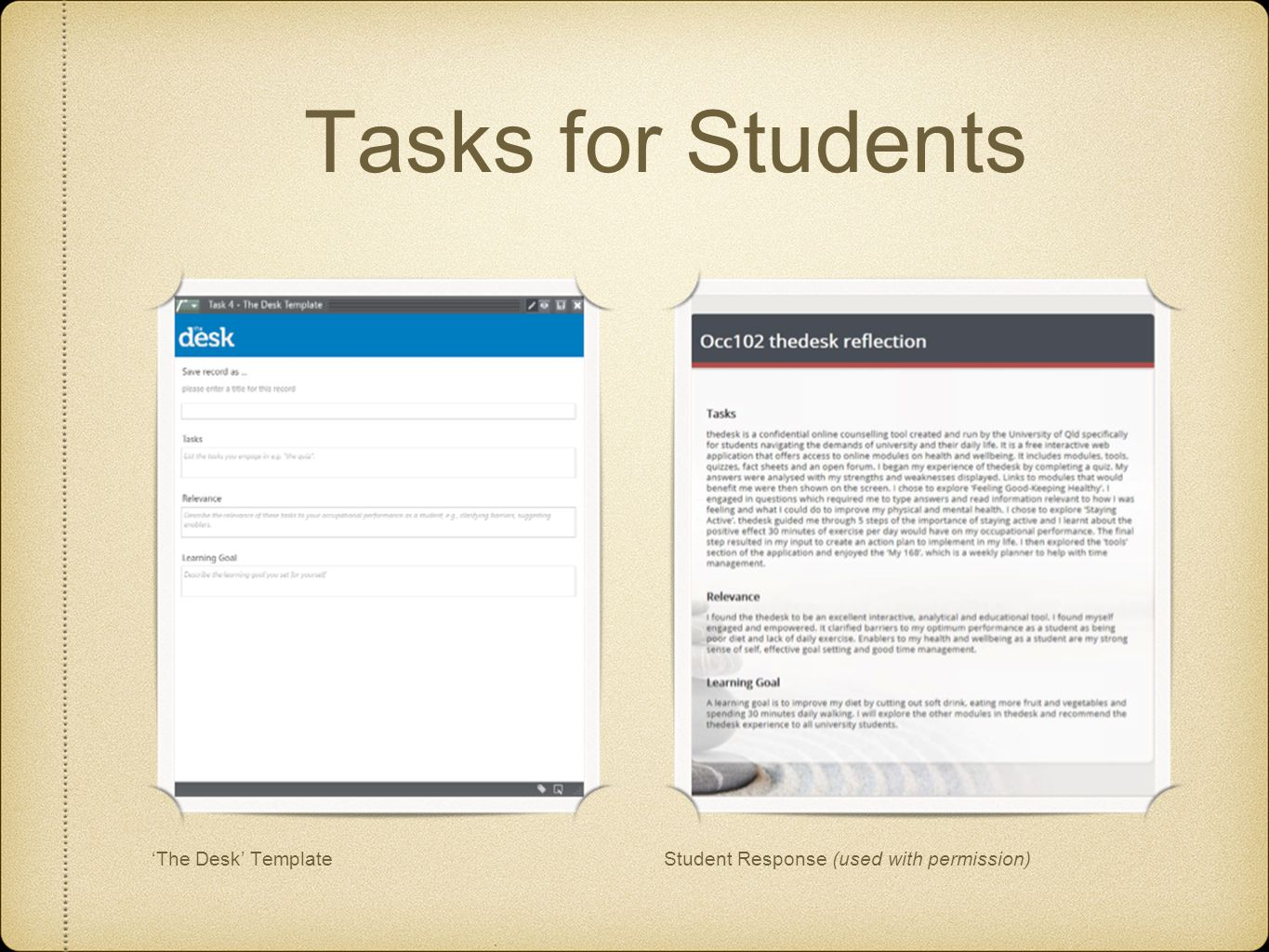 Tasks for Students Student Response (used with permission)The Desk Template