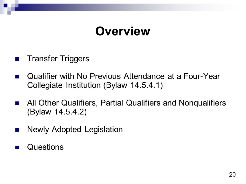 20 Overview Transfer Triggers Qualifier with No Previous Attendance at a Four-Year Collegiate Institution (Bylaw 14.5.4.1) All Other Qualifiers, Partial Qualifiers and Nonqualifiers (Bylaw 14.5.4.2) Newly Adopted Legislation Questions