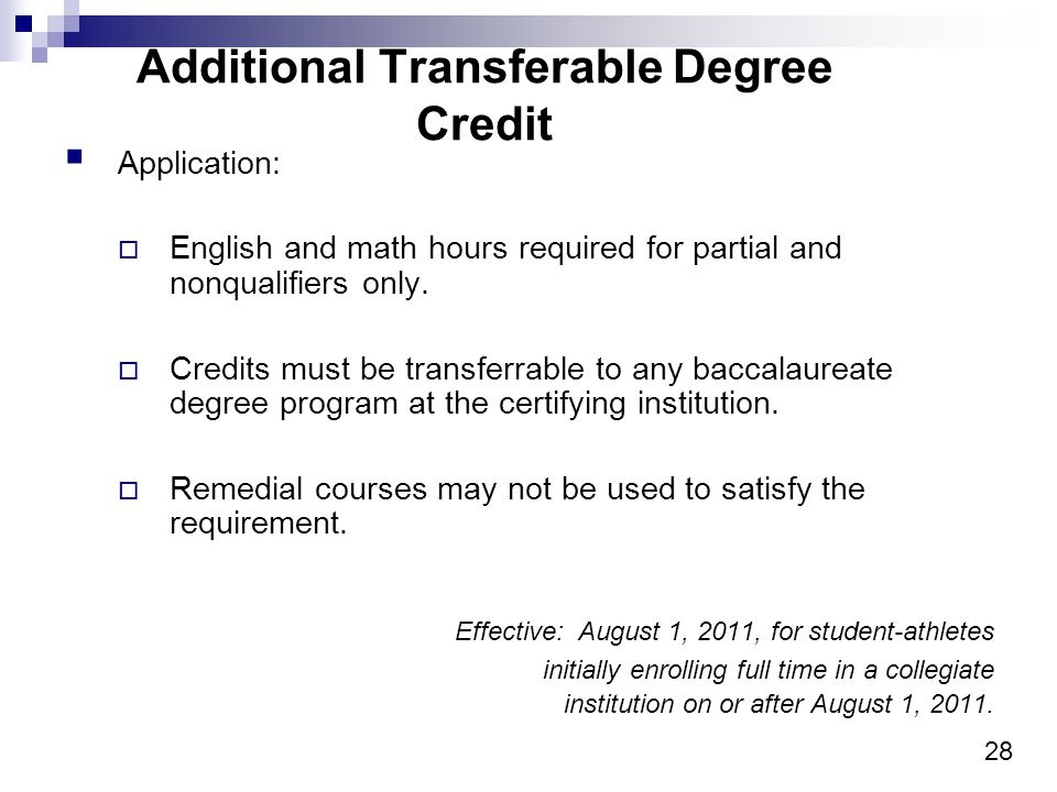 28 Additional Transferable Degree Credit Application: English and math hours required for partial and nonqualifiers only.