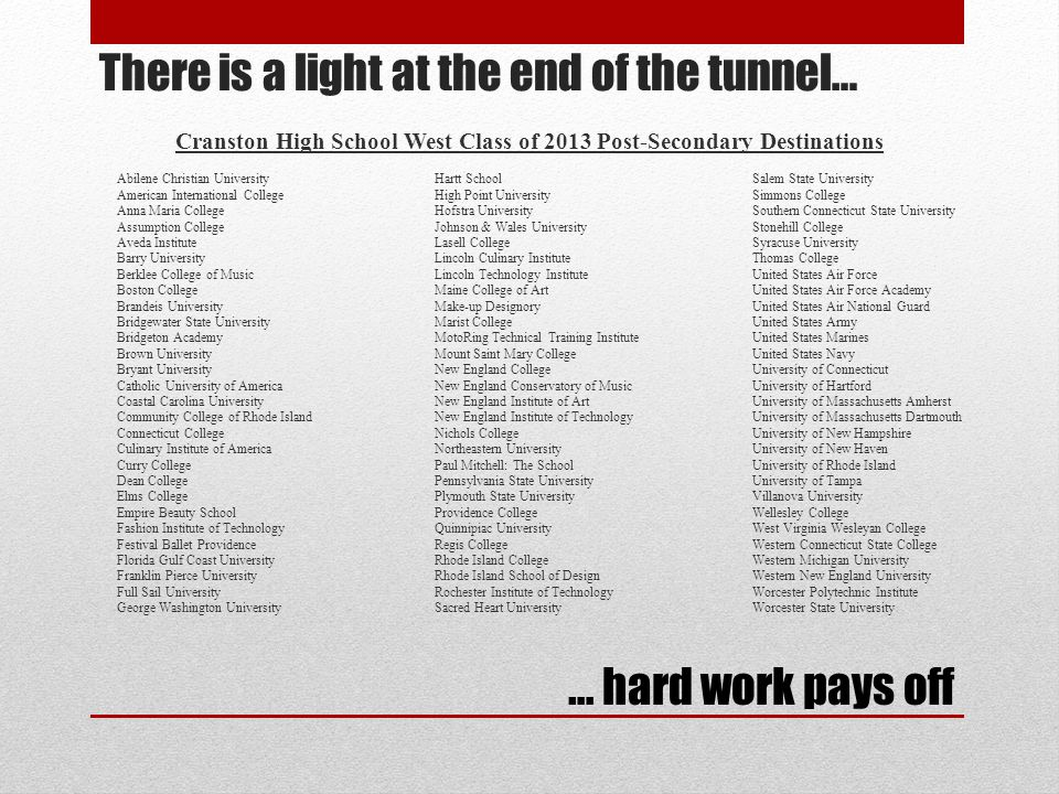 There is a light at the end of the tunnel… Cranston High School West Class of 2013 Post-Secondary Destinations Abilene Christian UniversityHartt Schoo