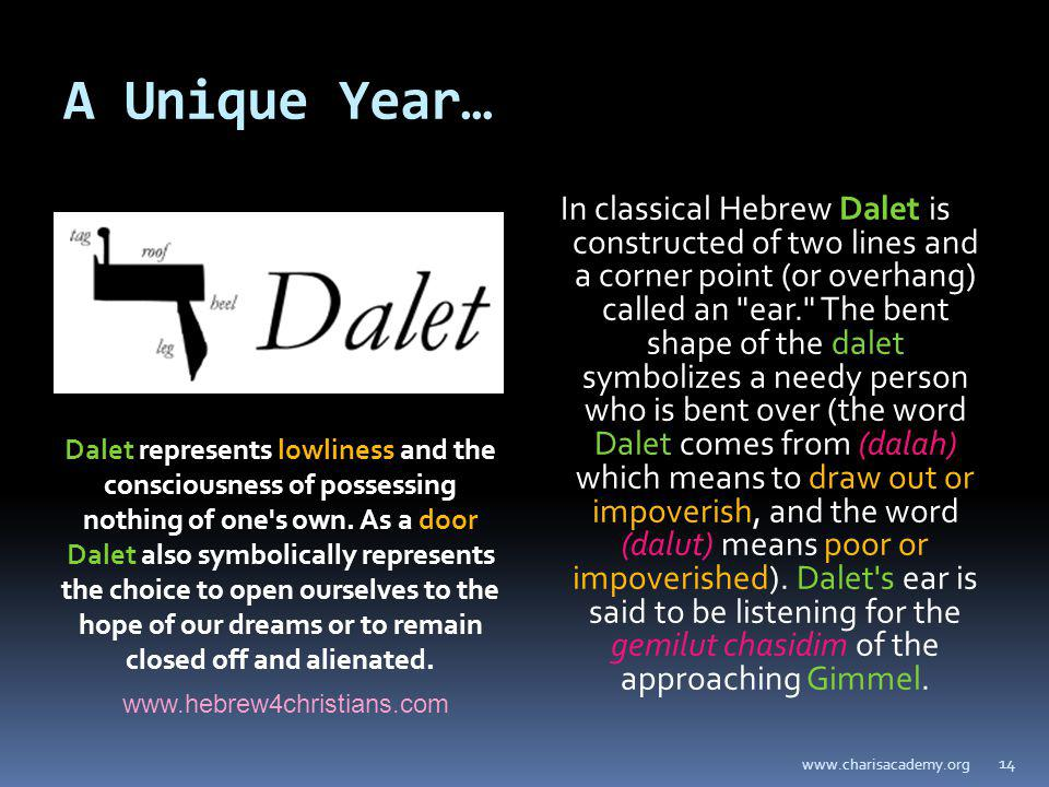 A Unique Year… In classical Hebrew Dalet is constructed of two lines and a corner point (or overhang) called an ear. The bent shape of the dalet symbolizes a needy person who is bent over (the word Dalet comes from (dalah) which means to draw out or impoverish, and the word (dalut) means poor or impoverished).