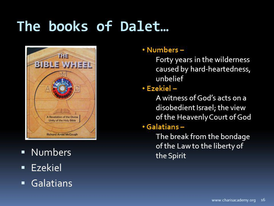 The books of Dalet… Numbers Ezekiel Galatians 16 www.charisacademy.org Numbers – Forty years in the wilderness caused by hard-heartedness, unbelief Ezekiel – A witness of Gods acts on a disobedient Israel; the view of the Heavenly Court of God Galatians – The break from the bondage of the Law to the liberty of the Spirit