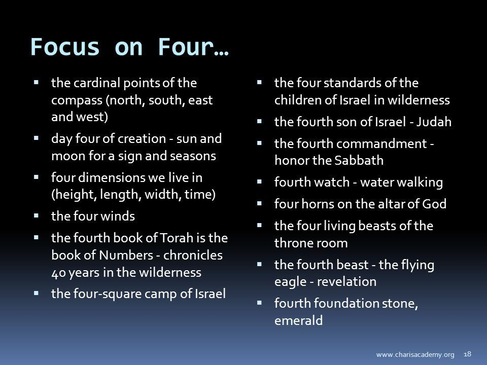 Focus on Four… the cardinal points of the compass (north, south, east and west) day four of creation - sun and moon for a sign and seasons four dimens
