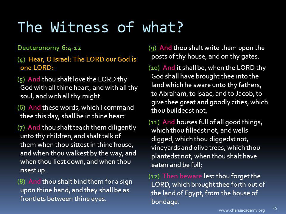 The Witness of what? Deuteronomy 6:4-12 (4) Hear, O Israel: The LORD our God is one LORD: (5) And thou shalt love the LORD thy God with all thine hear