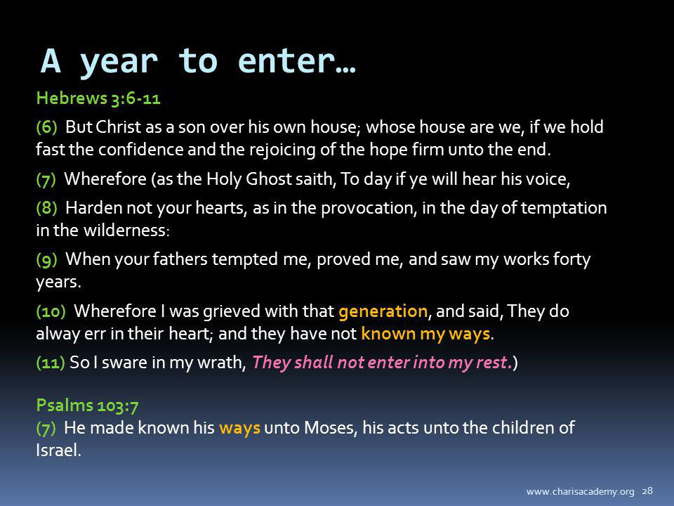 A year to enter… Hebrews 3:6-11 (6) But Christ as a son over his own house; whose house are we, if we hold fast the confidence and the rejoicing of th