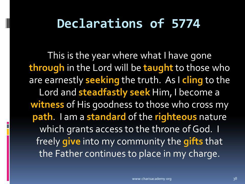 Declarations of 5774 This is the year where what I have gone through in the Lord will be taught to those who are earnestly seeking the truth. As I cli