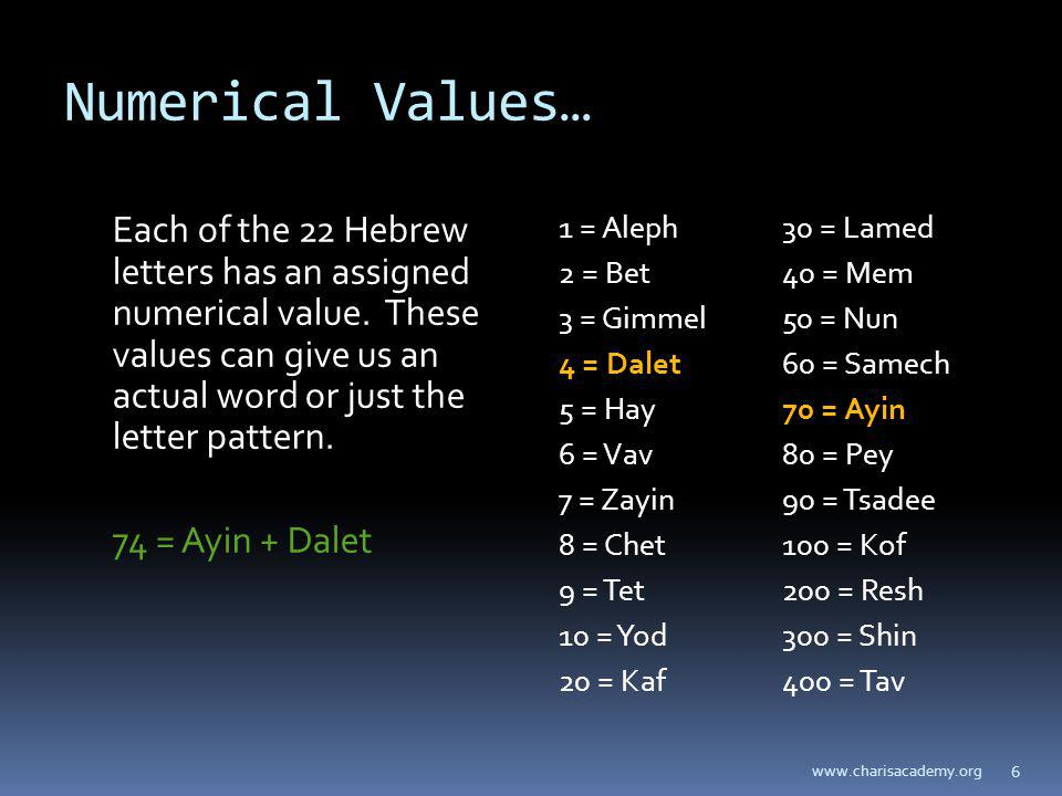 Numerical Values… Each of the 22 Hebrew letters has an assigned numerical value. These values can give us an actual word or just the letter pattern. 7