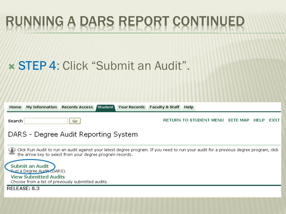 STEP 4: Click Submit an Audit.
