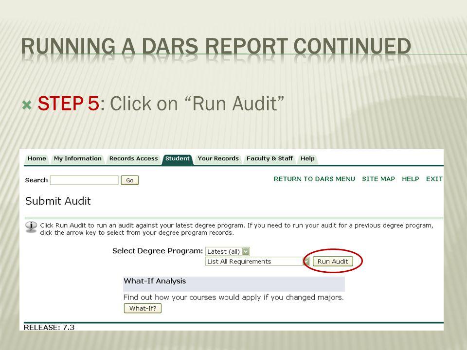 STEP 5: Click on Run Audit