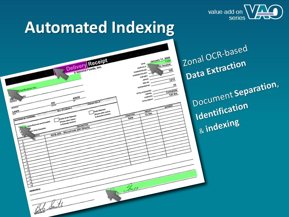 value-add-on series Automated Indexing Zonal OCR-based Data Extraction Document Separation, Identification & indexing