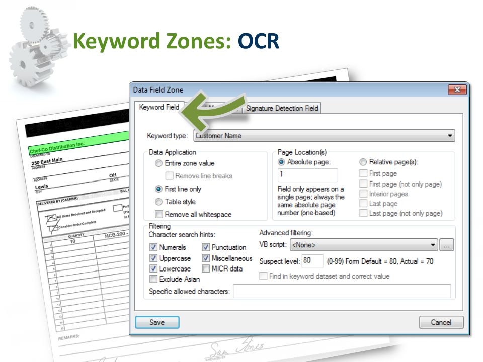 Keyword Zones: OCR