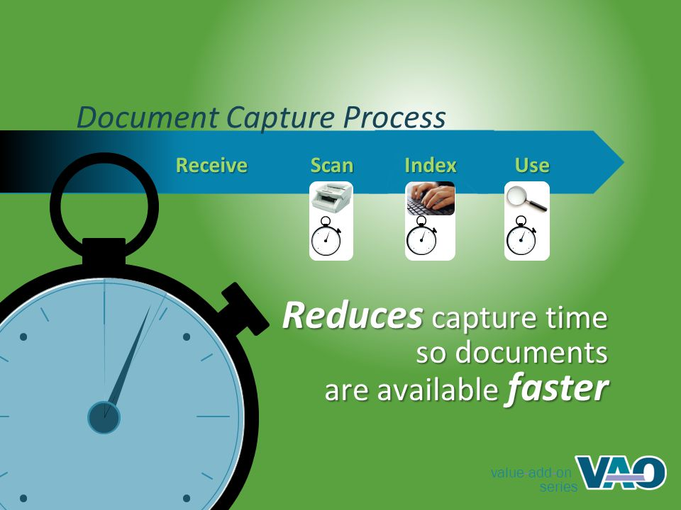 value-add-on series Document Capture Process Reduces capture time ReceiveScanIndexUse so documents are available faster