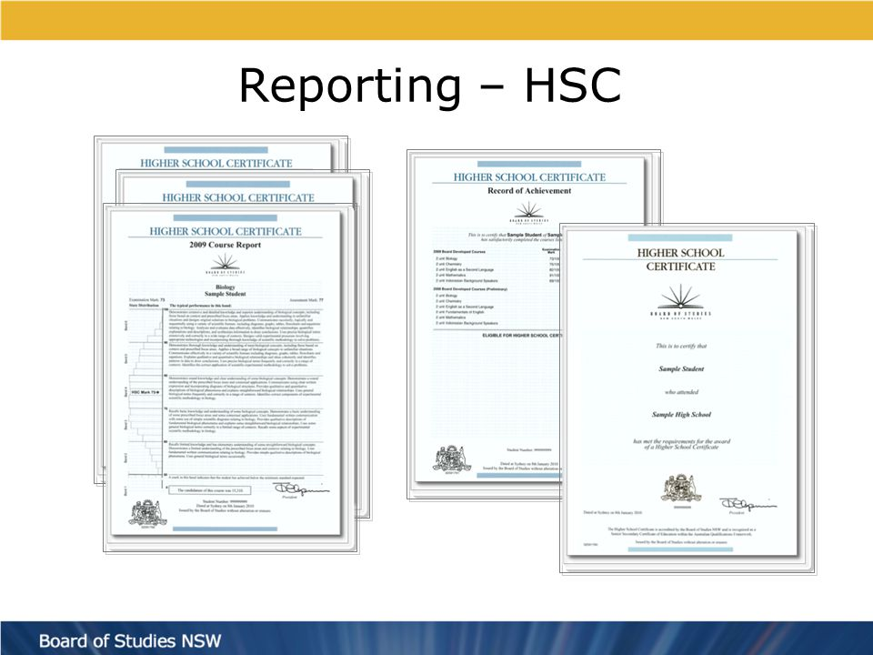 Reporting – HSC