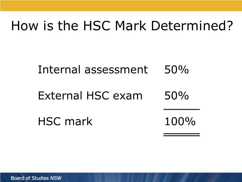 How is the HSC Mark Determined Internal assessment50% External HSC exam50% HSC mark100%
