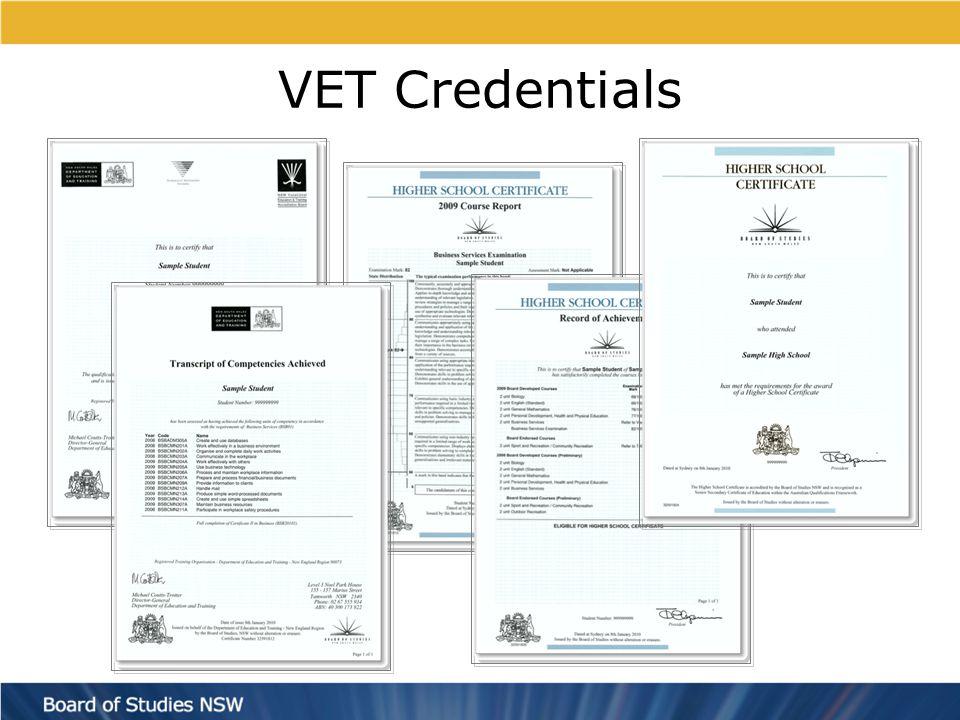 VET Credentials