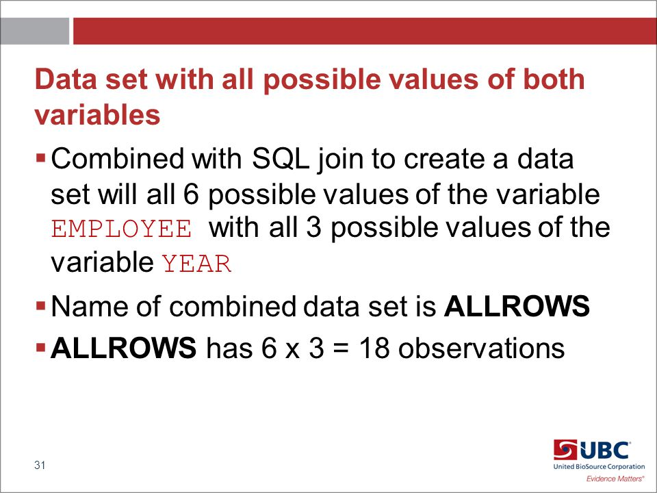Data set with all possible values of both variables Combined with SQL join to create a data set will all 6 possible values of the variable EMPLOYEE with all 3 possible values of the variable YEAR Name of combined data set is ALLROWS ALLROWS has 6 x 3 = 18 observations 31