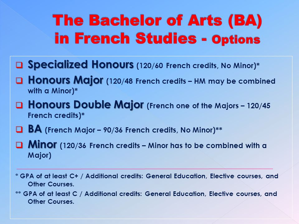 Specialized Honours Specialized Honours (120/60 French credits, No Minor)* Honours Major Honours Major (120/48 French credits – HM may be combined with a Minor)* Honours Double Major Honours Double Major (French one of the Majors – 120/45 French credits)* BA BA (French Major – 90/36 French credits, No Minor)** Minor Minor (120/36 French credits – Minor has to be combined with a Major) * GPA of at least C+ / Additional credits: General Education, Elective courses, and Other Courses.