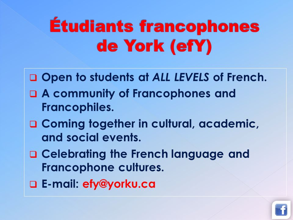 Open to students at ALL LEVELS of French.A community of Francophones and Francophiles.