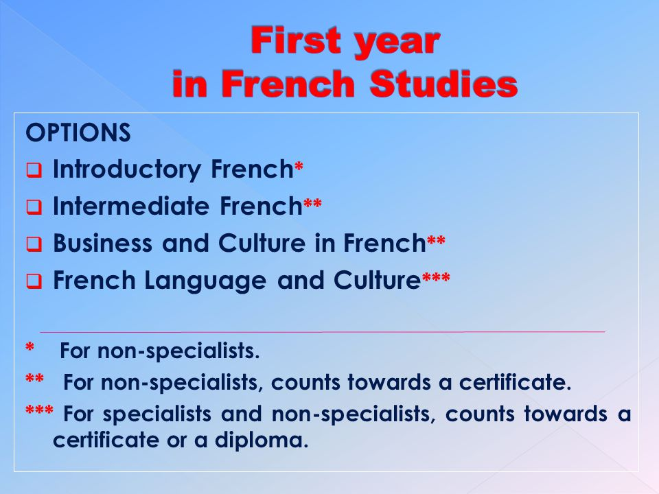 OPTIONS Introductory French * Intermediate French ** Business and Culture in French ** French Language and Culture *** * For non-specialists.