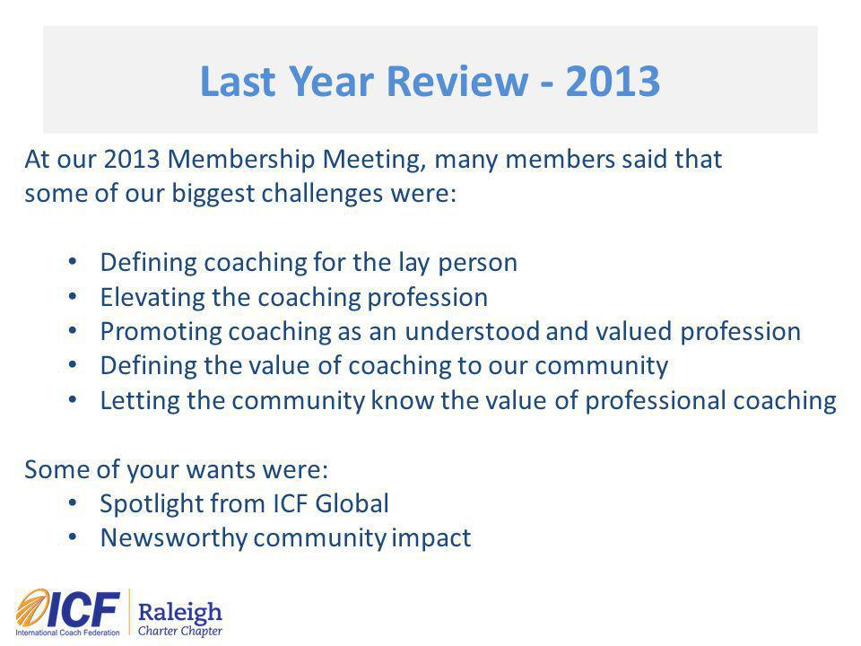 Last Year Review - 2013 At our 2013 Membership Meeting, many members said that some of our biggest challenges were: Defining coaching for the lay pers