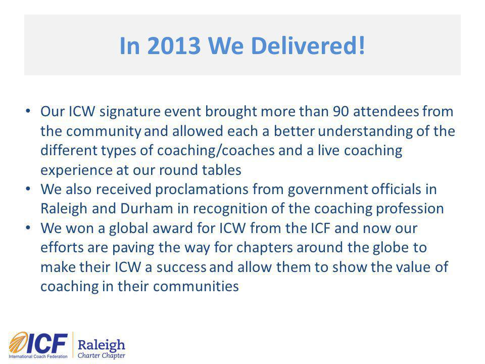 In 2013 We Delivered! Our ICW signature event brought more than 90 attendees from the community and allowed each a better understanding of the differe