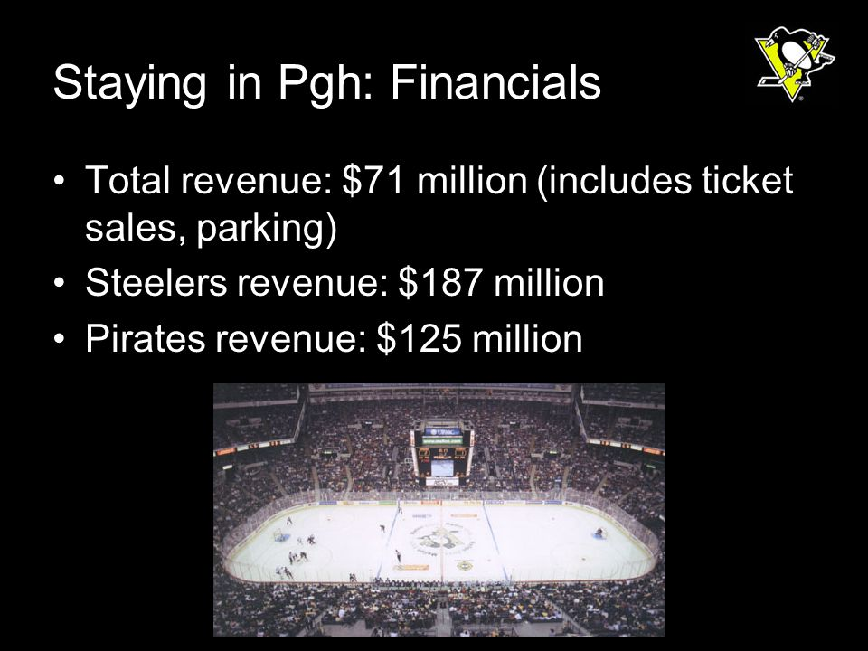 Staying in Pgh: Financials Total revenue: $71 million (includes ticket sales, parking) Steelers revenue: $187 million Pirates revenue: $125 million
