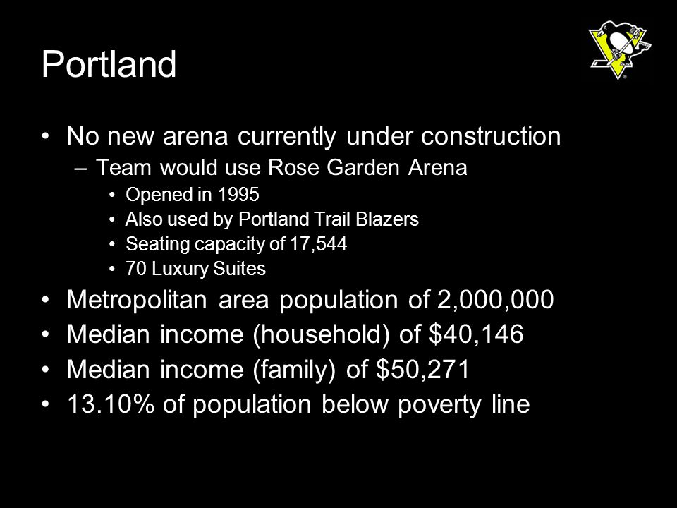Portland No new arena currently under construction –Team would use Rose Garden Arena Opened in 1995 Also used by Portland Trail Blazers Seating capacity of 17,544 70 Luxury Suites Metropolitan area population of 2,000,000 Median income (household) of $40,146 Median income (family) of $50,271 13.10% of population below poverty line