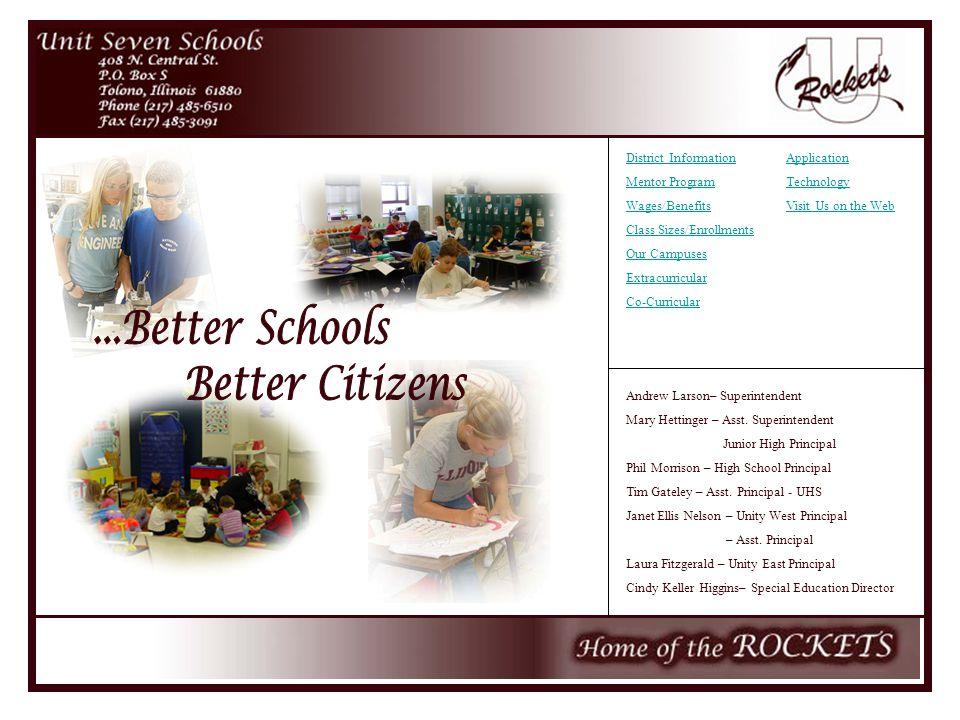 Andrew Larson– Superintendent Mary Hettinger – Asst. Superintendent Junior High Principal Phil Morrison – High School Principal Tim Gateley – Asst. Pr