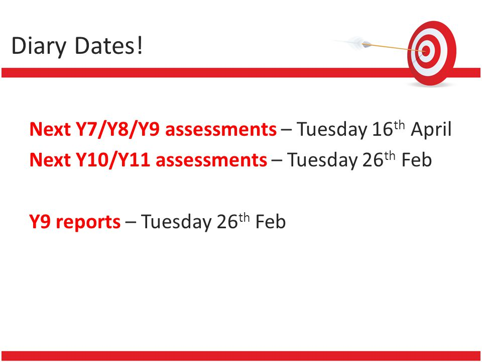 Diary Dates! Next Y7/Y8/Y9 assessments – Tuesday 16 th April Next Y10/Y11 assessments – Tuesday 26 th Feb Y9 reports – Tuesday 26 th Feb