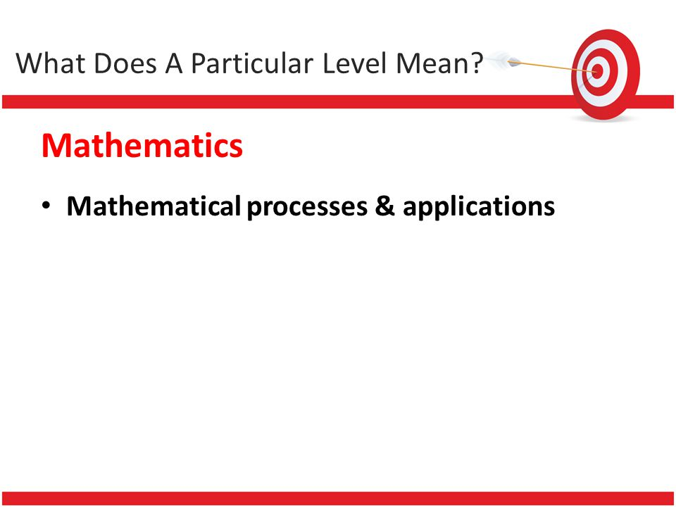 Mathematics Mathematical processes & applications What Does A Particular Level Mean?