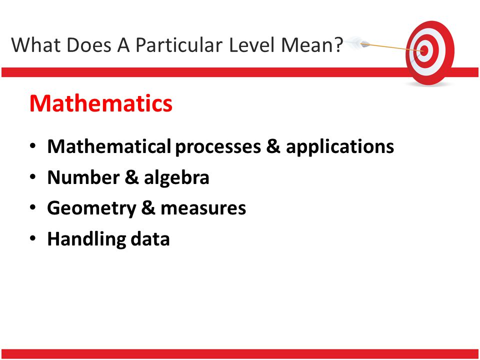 Mathematics Mathematical processes & applications Number & algebra Geometry & measures Handling data What Does A Particular Level Mean?