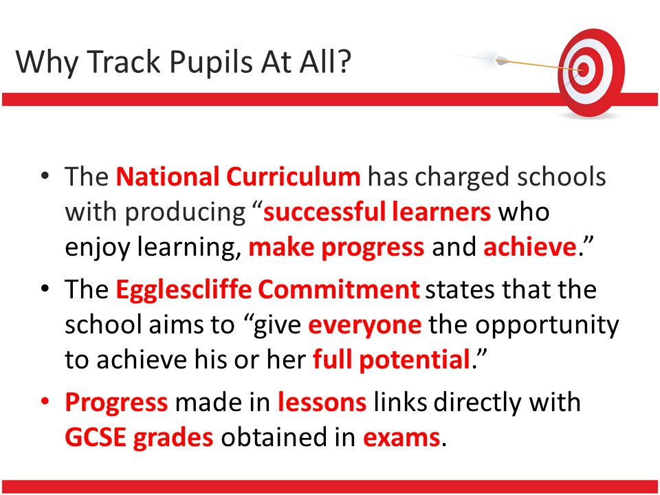 Why Track Pupils At All? The National Curriculum has charged schools with producing successful learners who enjoy learning, make progress and achieve.