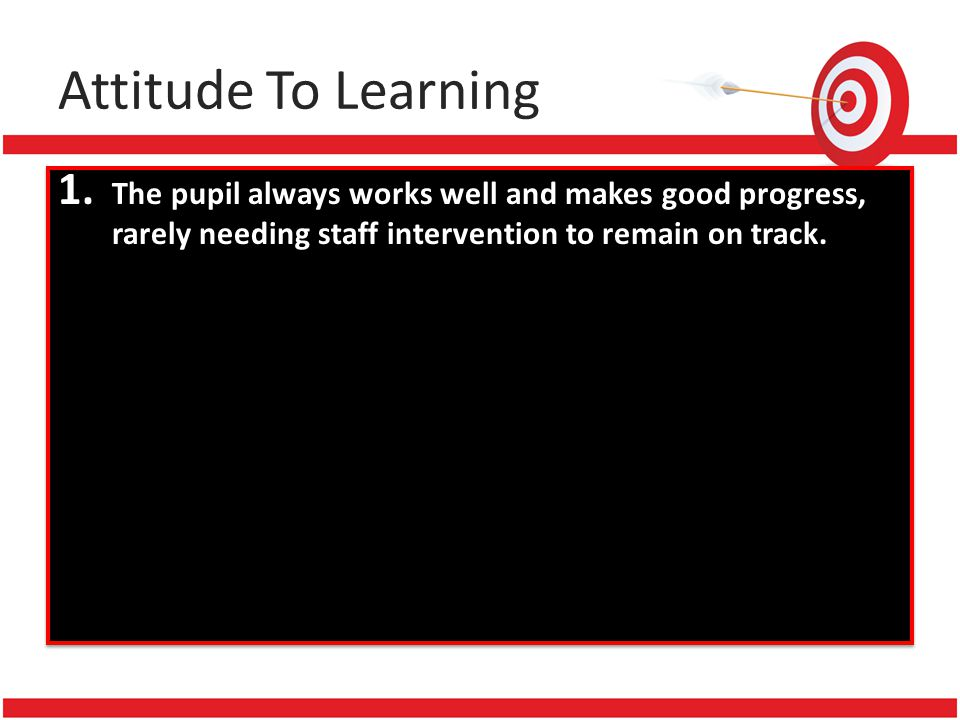 1. The pupil always works well and makes good progress, rarely needing staff intervention to remain on track.