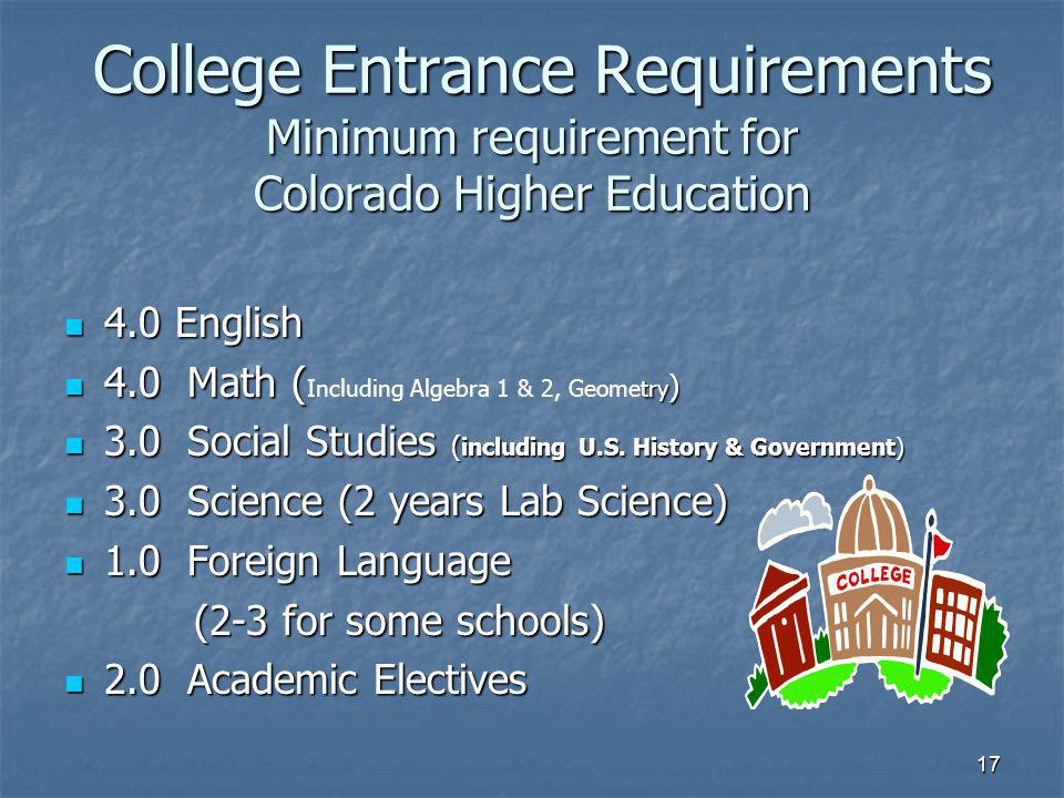 17 College Entrance Requirements Minimum requirement for Colorado Higher Education College Entrance Requirements Minimum requirement for Colorado Higher Education 4.0 English 4.0 English 4.0 Math ( try ) 4.0 Math ( Including Algebra 1 & 2, Geometry ) 3.0 Social Studies ( including U.S.