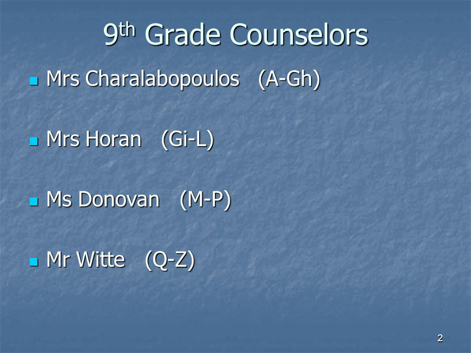 9 th Grade Counselors Mrs Charalabopoulos (A-Gh) Mrs Charalabopoulos (A-Gh) Mrs Horan (Gi-L) Mrs Horan (Gi-L) Ms Donovan (M-P) Ms Donovan (M-P) Mr Witte (Q-Z) Mr Witte (Q-Z) 2