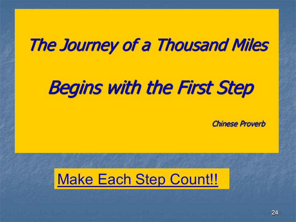 24 The Journey of a Thousand Miles Begins with the First Step Chinese Proverb Make Each Step Count!!