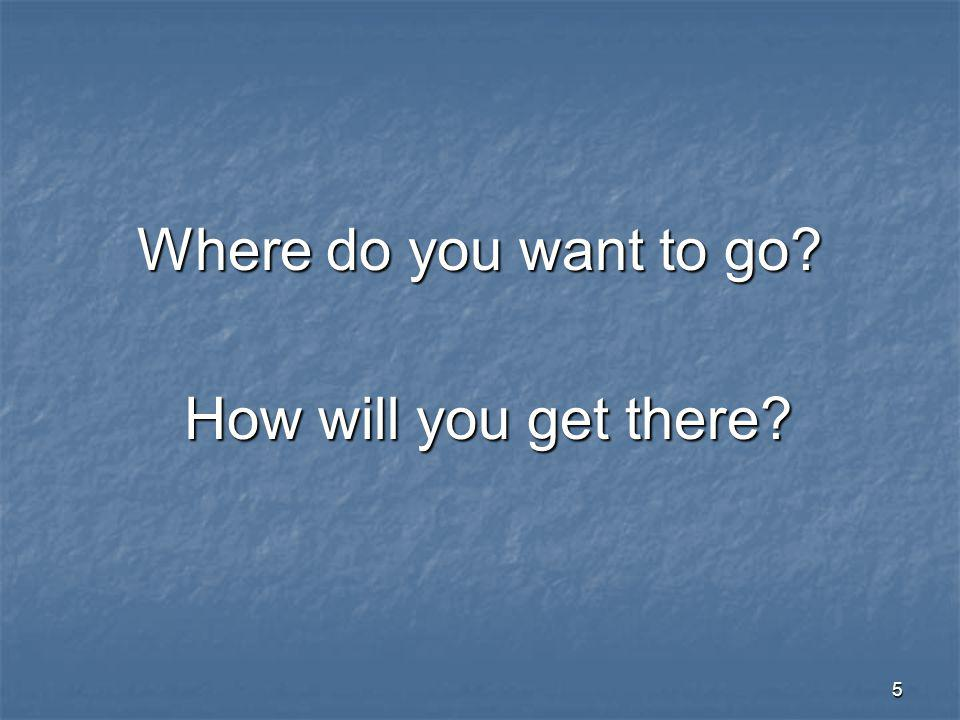 5 Where do you want to go How will you get there How will you get there