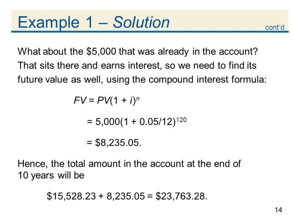 14 Example 1 – Solution What about the $5,000 that was already in the account? That sits there and earns interest, so we need to find its future value