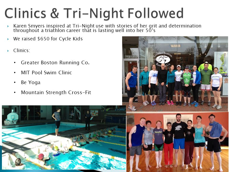 Karen Smyers inspired at Tri-Night use with stories of her grit and determination throughout a triathlon career that is lasting well into her 50s We raised $650 for Cycle Kids Clinics: Greater Boston Running Co.