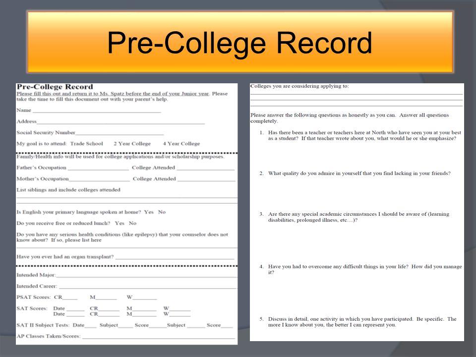 Pre-College Record