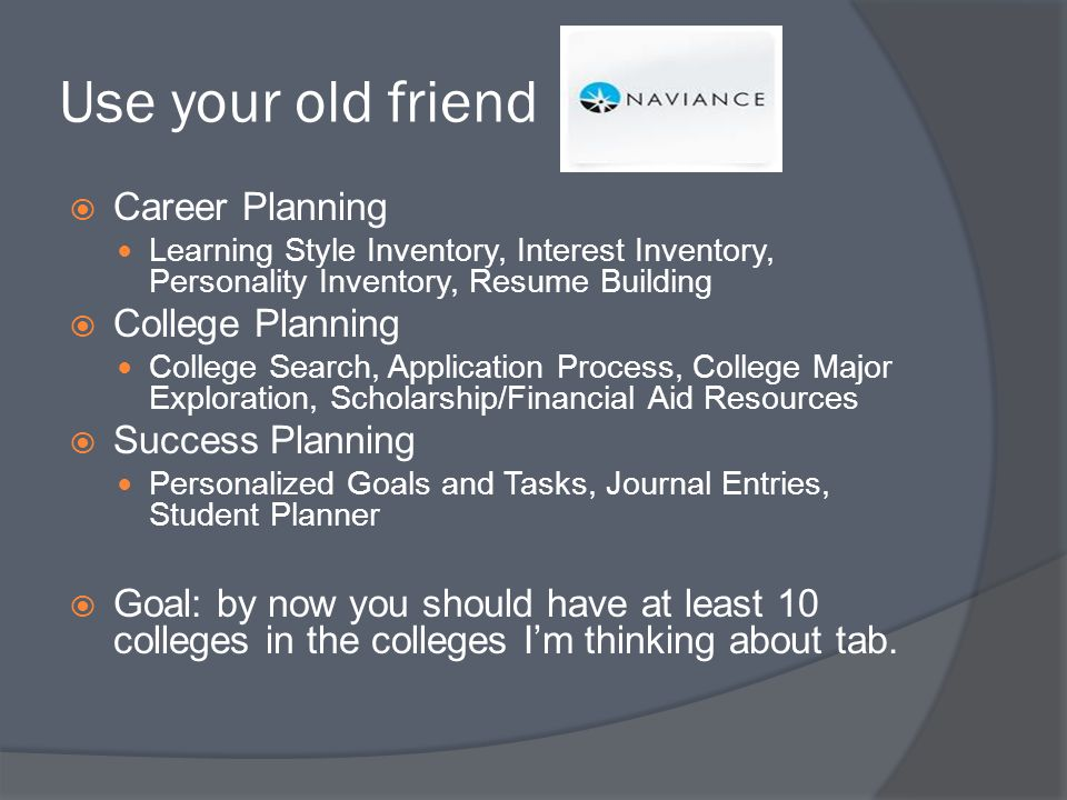 Use your old friend Career Planning Learning Style Inventory, Interest Inventory, Personality Inventory, Resume Building College Planning College Search, Application Process, College Major Exploration, Scholarship/Financial Aid Resources Success Planning Personalized Goals and Tasks, Journal Entries, Student Planner Goal: by now you should have at least 10 colleges in the colleges Im thinking about tab.