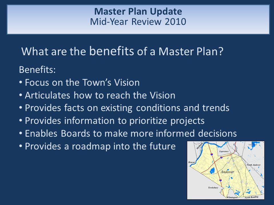 Master Plan Update Mid-Year Review 2010 What are the benefits of a Master Plan.