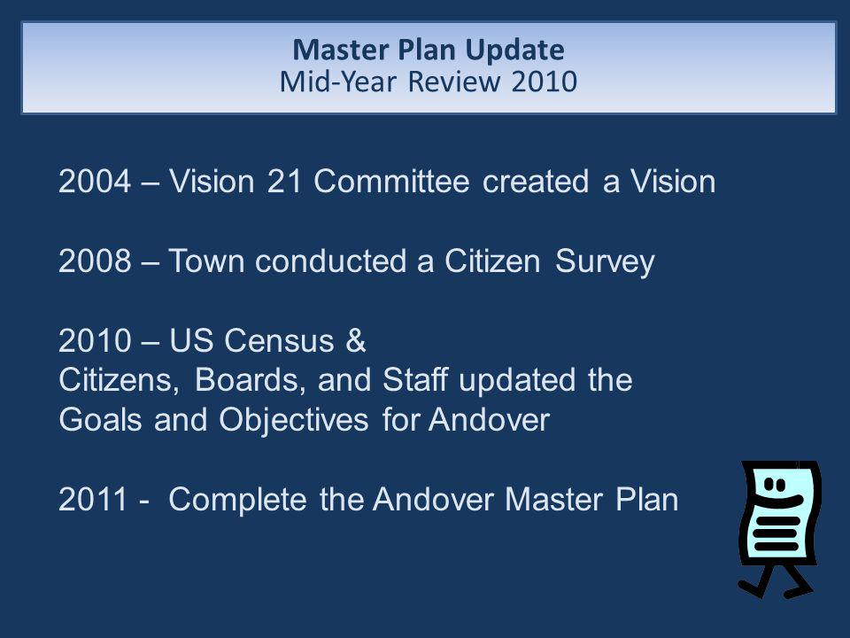 2004 – Vision 21 Committee created a Vision 2008 – Town conducted a Citizen Survey 2010 – US Census & Citizens, Boards, and Staff updated the Goals and Objectives for Andover 2011 - Complete the Andover Master Plan Master Plan Update Mid-Year Review 2010
