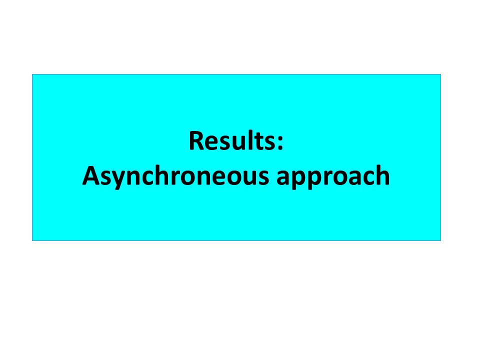 Results: Asynchroneous approach
