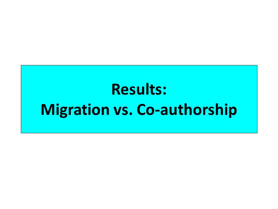 Results: Migration vs. Co-authorship