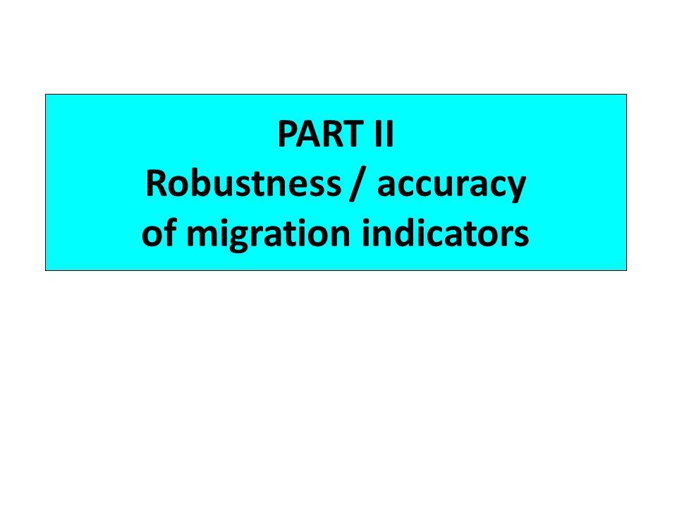 PART II Robustness / accuracy of migration indicators