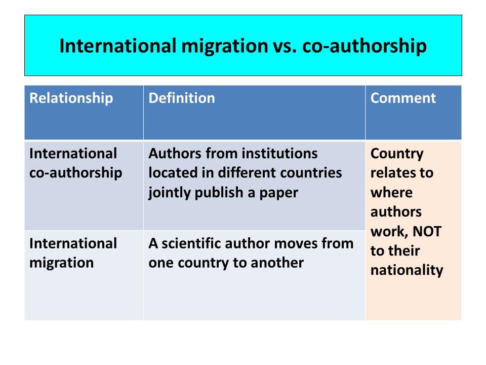 International migration vs.