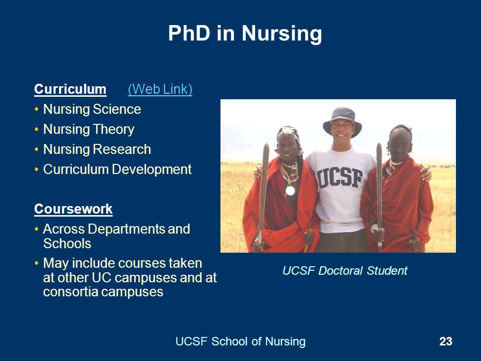 UCSF School of Nursing23 PhD in Nursing Curriculum (Web Link)(Web Link) Nursing Science Nursing Theory Nursing Research Curriculum Development Coursew