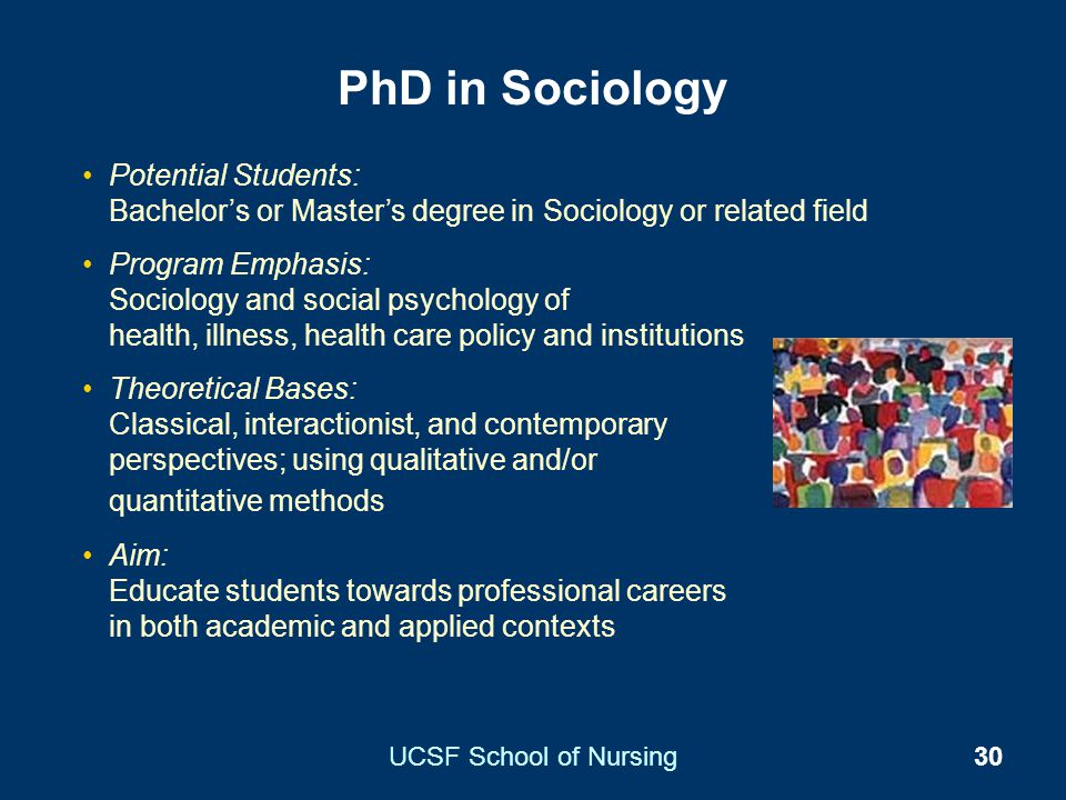 UCSF School of Nursing30 PhD in Sociology Potential Students: Bachelors or Masters degree in Sociology or related field Program Emphasis: Sociology an